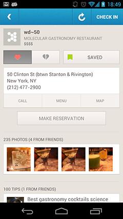 Foursquare adds OpenTable to Explore pages
