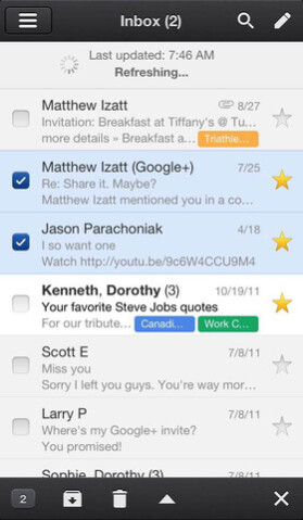 Screenshot of Gmail for iOS
