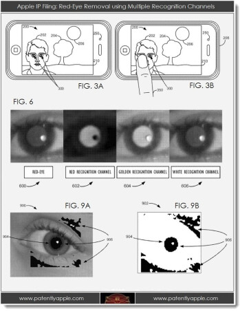 Diagrams of two new Apple patent applications dealing with red-eye (L) and improving picture composition, courtesy of Patently Apple