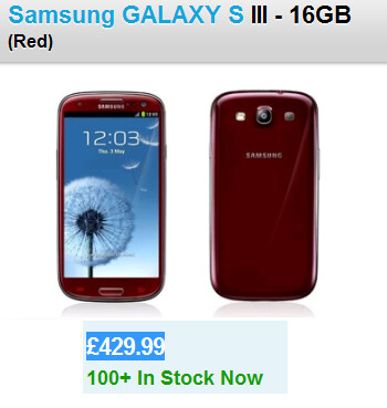 The Samsung Galaxy S III in red is now available in the U.K.