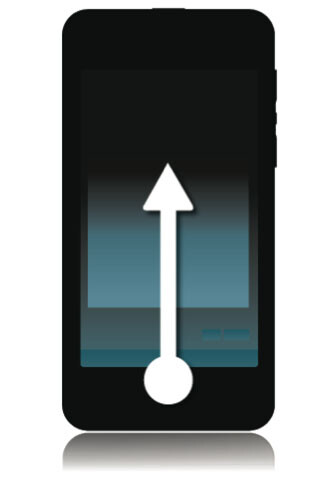 Swipe up to unlock a BlackBerry 10 device
