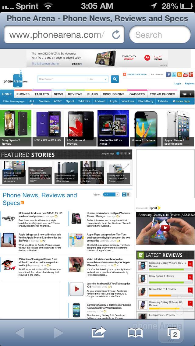 Apple iPhone 5 - Web Browser comparison: iPhone 5 vs Galaxy S III vs One X vs Lumia 900
