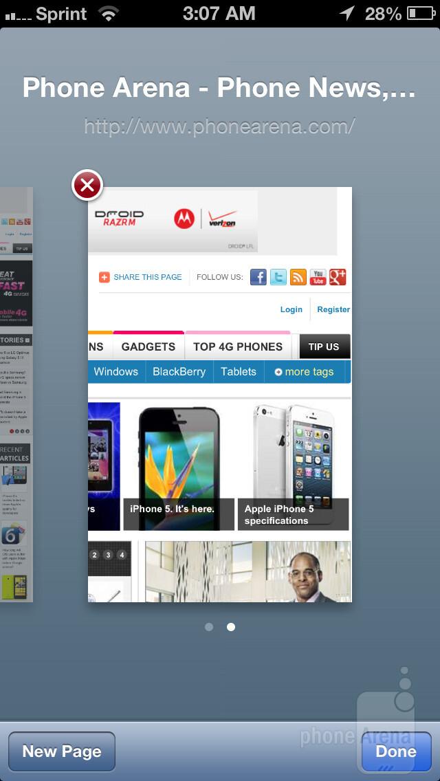 Web Browser comparison: iPhone 5 vs Galaxy S III vs One X vs Lumia 900