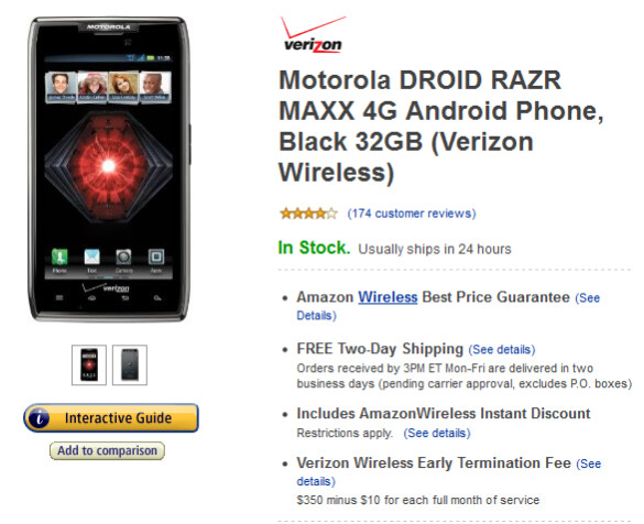 The Motorola DROID RAZR MAXX can be yours for as low as $49.99 at Amazon - Motorola DROID RAZR MAXX and the 3300mAh battery now $50 at Amazon