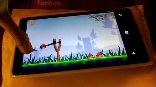 Playing Angry Birds with a banana on Nokia's super-sensitive touchscreen