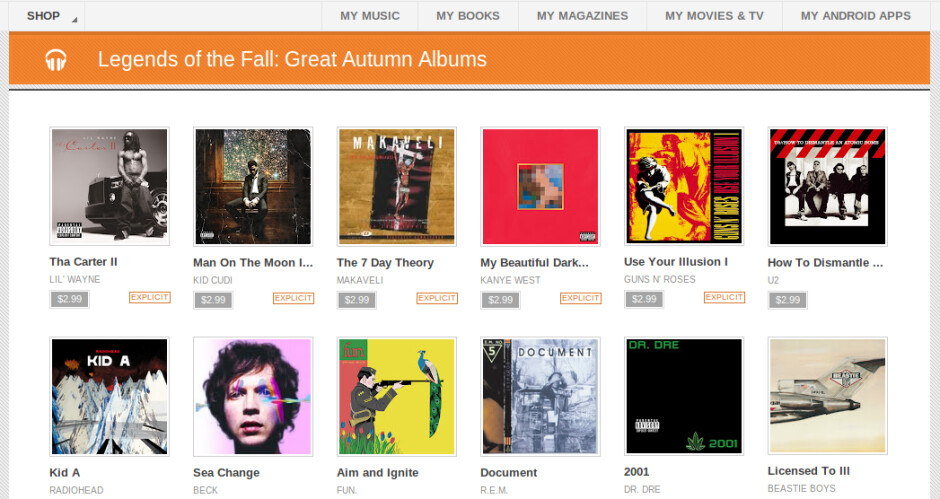 Google Play starts a $2.99 music sale with some killer albums