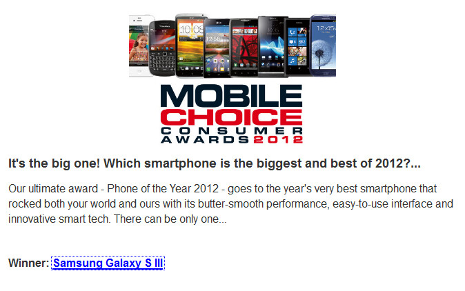 They like it, they really like it - Mobile Choice Consumers Award 2012: Samsung Galaxy S III best smartphone, Apple iPad best tablet