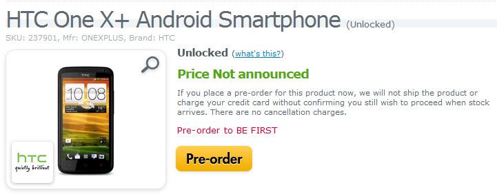 Pre-order a SIM-free HTC One X+ in the U.S. - Unlocked HTC One X+ available for pre-order in the U.S.