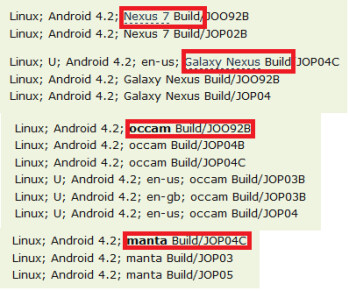 Android Police's server traffic log came up with several devices running Android 4.2