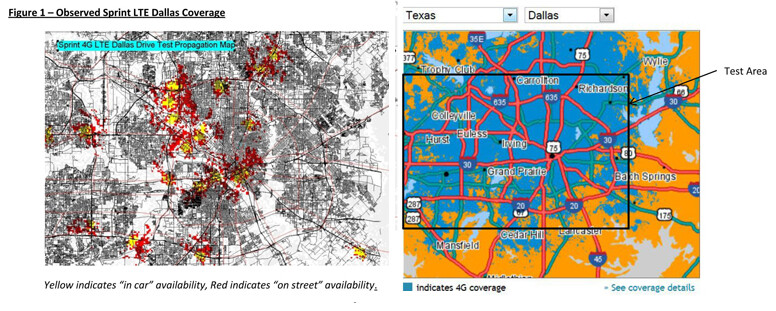Comparison of Sprint's Dallas coverage from the testing (L) versus what the carrier claims on its website - Is Sprint's LTE coverage exaggerated on its website?