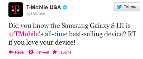 The Samsung Galaxy S III is the all-time best-seller for the carrier - T-Mobile's all-time number one seller is the Samsung Galaxy S III