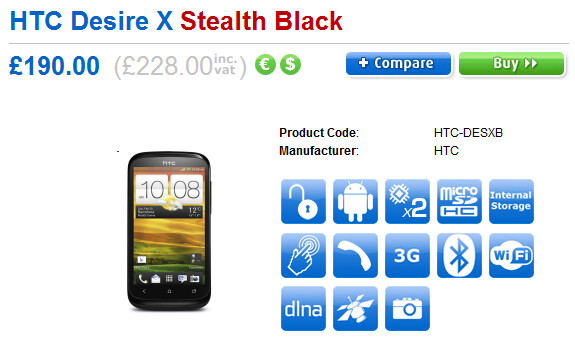 The HTC Desire X is in stock at Clove - HTC Desire X arrives in the U.K.