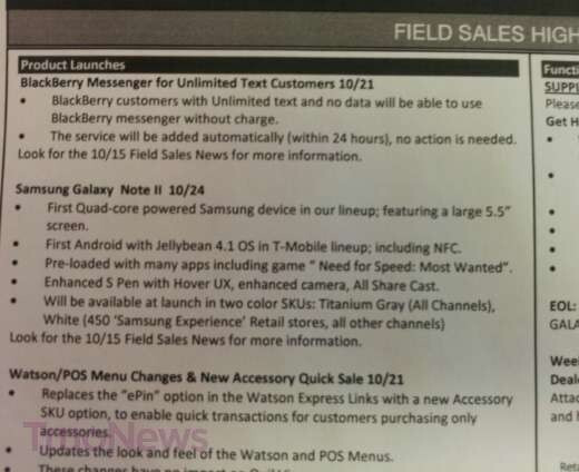 This leaked memo confirms October 24th launch for the Samsung GALAXY Note II for T-Mobile - Leaked memo shows October 24th launch for T-Mobile's Samsung GALAXY Note II