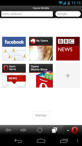 Screenshots from Opera Mobile