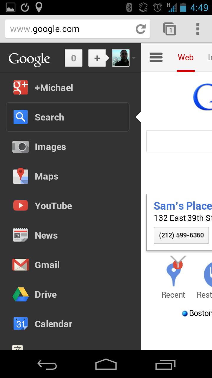 Google adds hidden services menu to mobile site phonearena for Mobel website