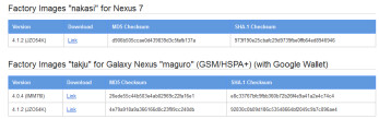 Factory Images for Android 4.1.2 are available for the Google Nexus 7 and a certain variant of the Samsung GALAXY Nexus