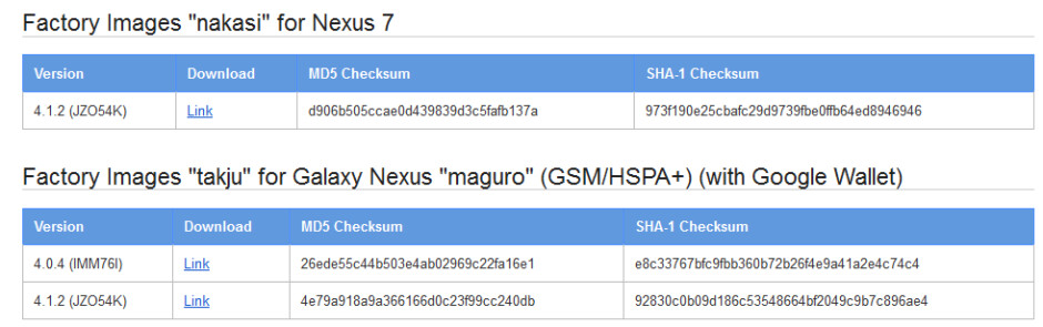 Factory Images for Android 4.1.2 are available for the Google Nexus 7 and a certain variant of the Samsung GALAXY Nexus - Factory Images for Samsung GALAXY Nexus and Google Nexus 7 reveal new Android 4.1.2 build