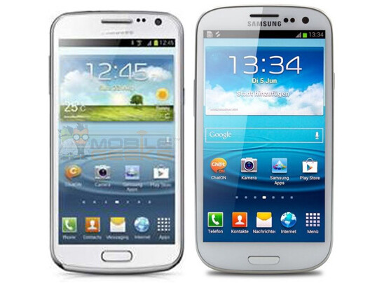 Galaxy Premier (left) and Galaxy S III (right) - Model previously thought to be Galaxy Nexus II turns out to be the Galaxy Premier