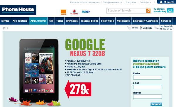 Nexus 7 32GB surfaces in Spain, price is €279