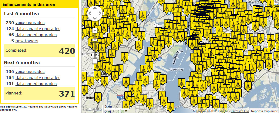 Sprint has some work to do in the Big Apple - 22 more locations to be covered with Sprint's LTE