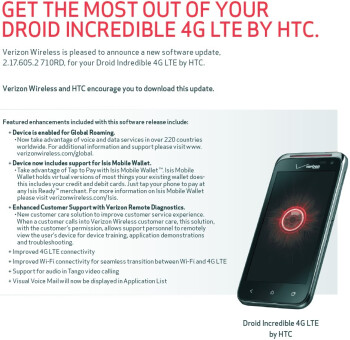 First software update coming to Verizon's HTC DROID Incredible 4G LTE