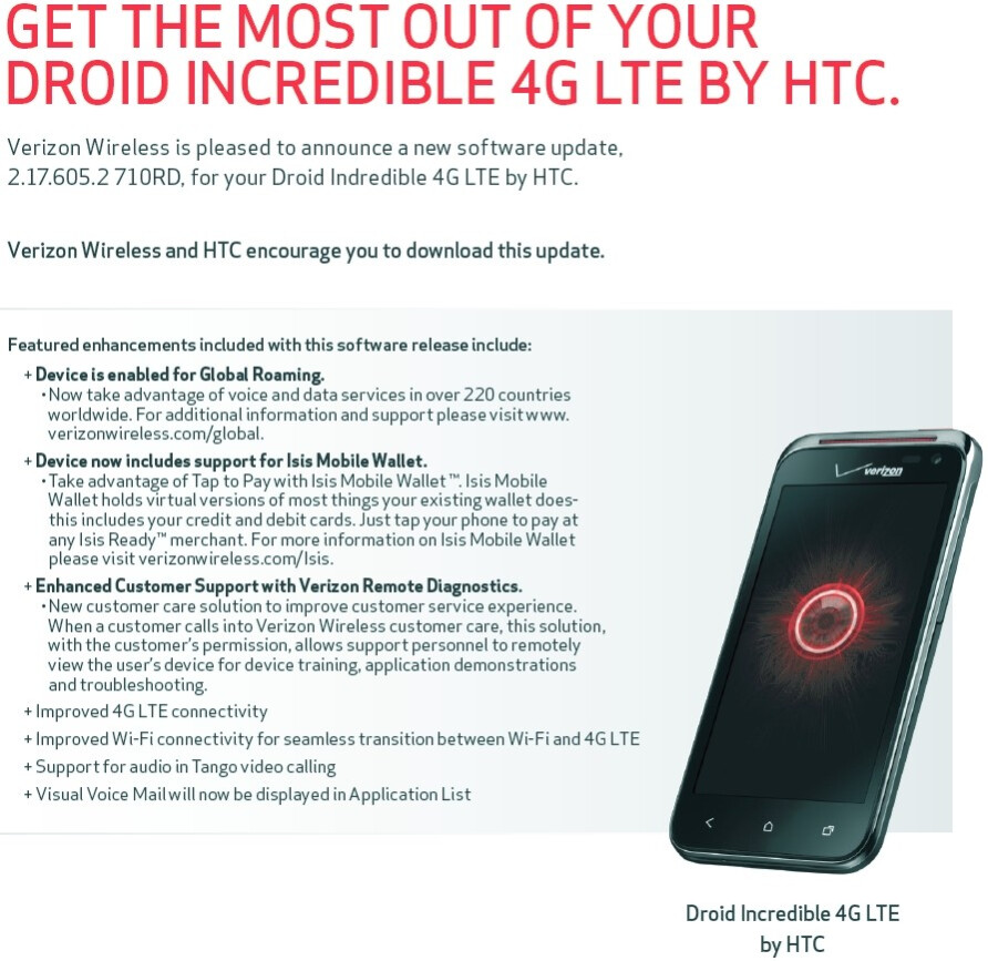 first software update coming to verizon s htc droid Verizon HTC EVO Verizon HTC Incredible Manual