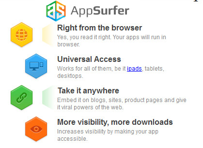 AppSurfer lets everyone with a browser see your app in motion before buying or installing it - Anyone with any browser can see your app in motion with AppSurfer
