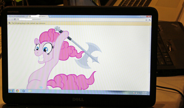 The image displayed on a compromised computer after it was successfully hacked by Pinkie Pie during the first Pwnium competition in March. Image from Ars Technica. - Google's Pwnium pays $60,000 to hacker for breaching Chrome browser