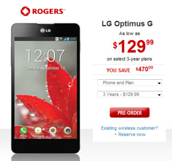 You can reserve your LG Optimus G from Rogers now