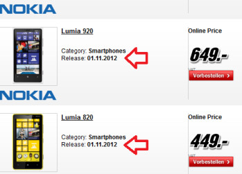 The Nokia Lumia 920 and Nokia Lumia 820 show a November 1st launch date in Germany