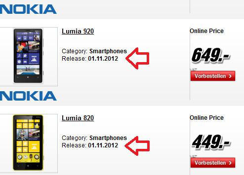 """سعر وموعد وصول""""Lumia 920 – 820"""" تحدد بمتجر الماني"""