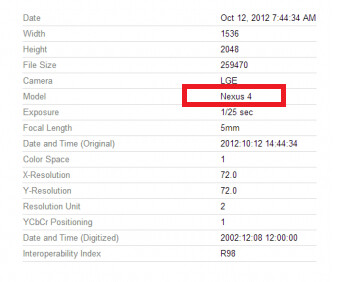 The EXIF data shows the Nexus 4 name - EXIF data from Picasa pictures show the LG E960 will be called the LG Nexus 4