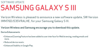 Verizon to send out HE software update for the Samsung Galaxy S III, still not Jelly Bean