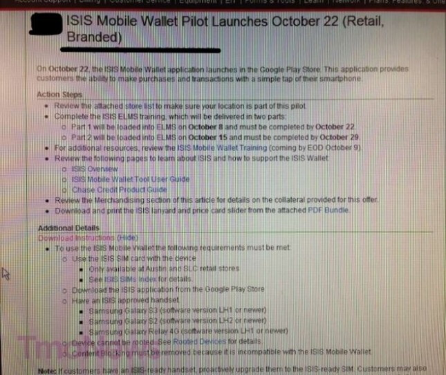 ISIS pilot program finally launching on T-Mobile Oct. 22