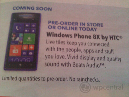 Leaked ad shows Best Buy accepting pre-orders for the HTC 8X - Best Buy to take HTC Windows Phone 8X pre-orders starting October 21st?