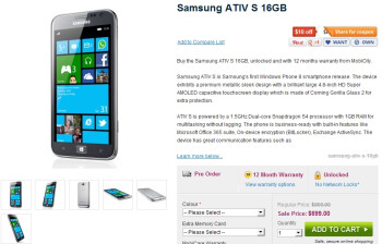There is no ship date, but the 3G model of the Samsung ATIV S is available for pre-order now in Australia