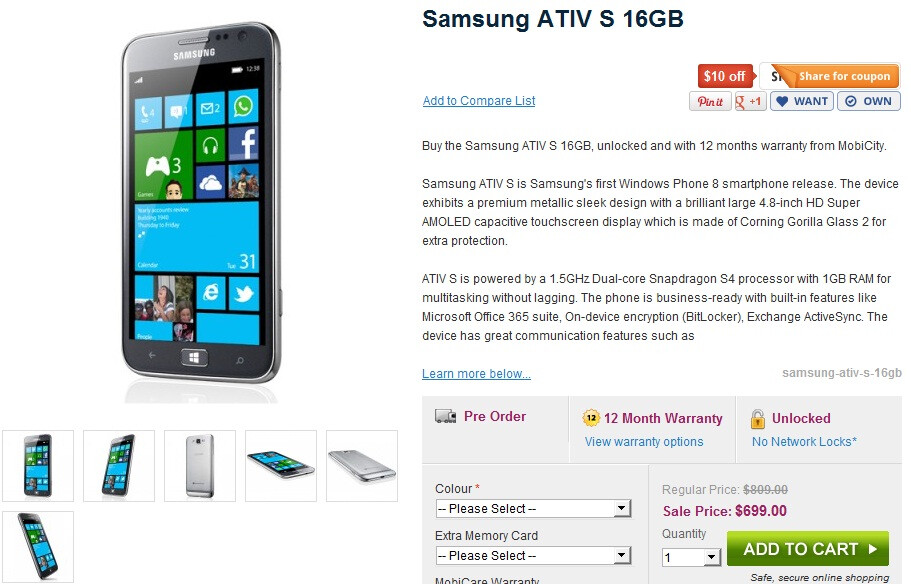 There is no ship date, but the 3G model of the Samsung ATIV S is available for pre-order now in Australia - SIM-free Samsung ATIV S is available for pre-order with MobiCity in Australia