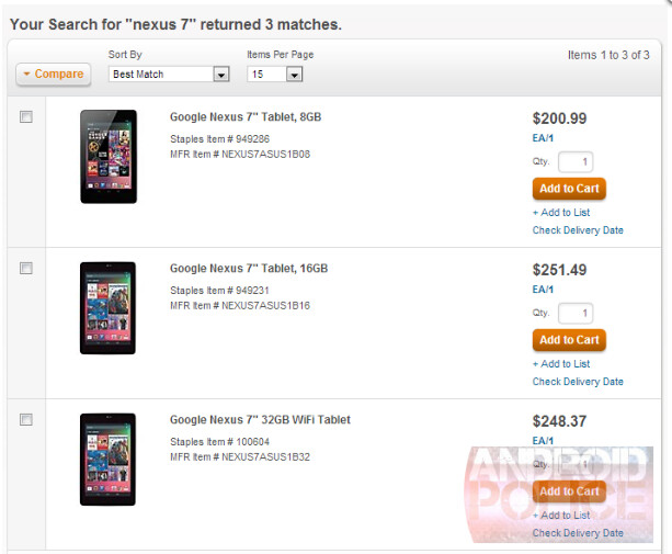 Staples business website shows a 32GB version of the Google Nexus 7 - 32GB Google Nexus 7 appears on Staples' website; price matches 16GB version