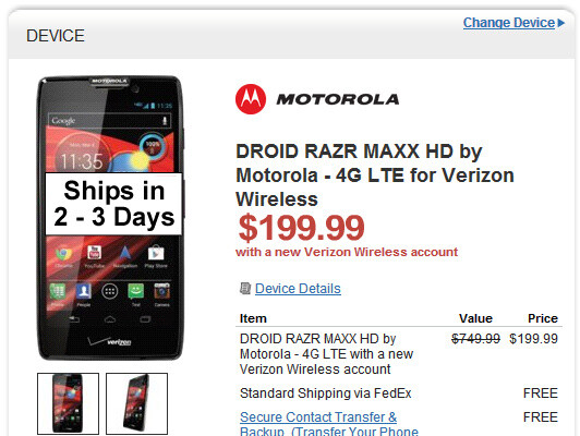 Wirefly puts the Motorola DROID RAZR HD and RAZR MAXX HD on sale - Motorola DROID RAZR HD now available at Verizon for $200, Wirefly has it for less