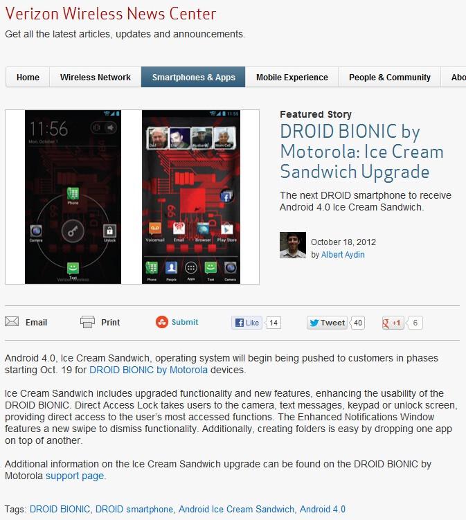Verizon announces Ice Cream Sandwich for Motorola Droid Bionic