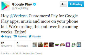 Verizon to start offering carrier billing for Google Play content in a few weeks