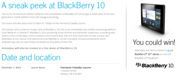BlackBerry 10 will be displayed to Canda's politicos on November 7th