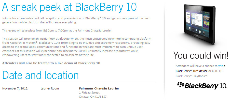 BlackBerry 10 will be displayed to Canda's politicos on November 7th - RIM: BlackBerry 10 will change everything