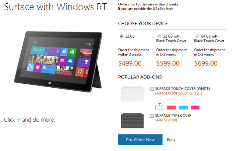 Pre-orders of the Microsoft Surface RT are doing well - Microsoft Surface RT pre-sales red hot; shipping dates pushed back