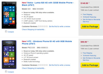 Best Buy and AT&T have priced both the HTC 8X and the Nokia Lumia 920 and pre-orders are being accepted