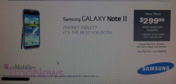 This leaked image could be revealing T-Mobile's price intentions on the Samsung GALAXY Note II