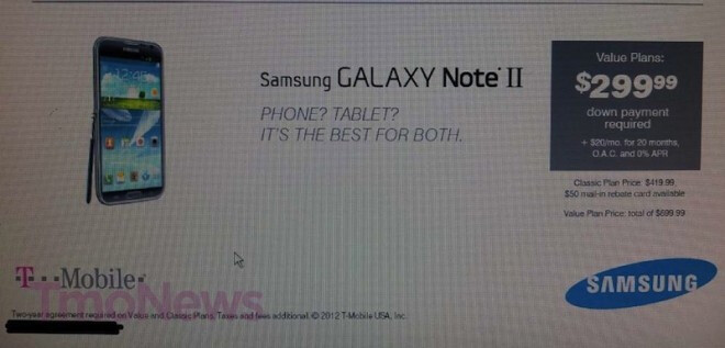 This leaked image could be revealing T-Mobile's price intentions on the Samsung GALAXY Note II - Leaked image reveals Samsung GALAXY Note II pricing for T-Mobile