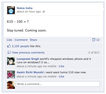 Nokia Lumia 510 teased by Nokia India, coming soon