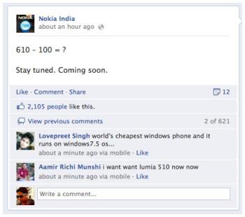 Nokia Lumia 510 teased by Nokia India, coming soon