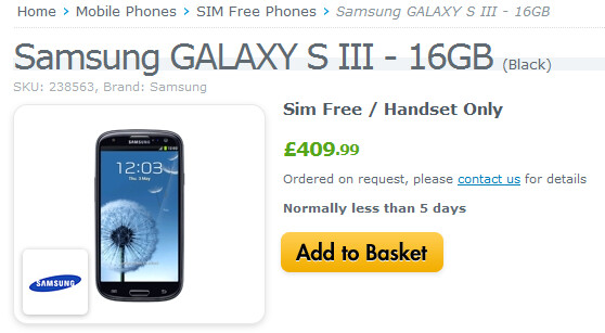 The Samsung Galaxy S III will be available unlocked and in black on Wednesday - Retailer Expansys says unlocked black Samsung Galaxy S III to be available October 24th